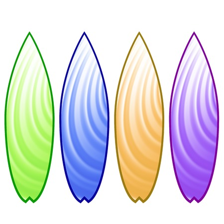 surfboards: Set of Colorful Surfboards Isolated on White Background