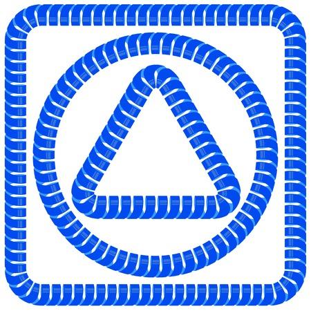 spun: Blue Paper Frames Isolated on White Background Illustration