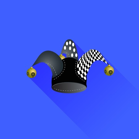 jester hat: Jester Hat Isolated on Blue Background. Long Shadow Illustration
