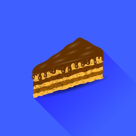 chocolate brownie: Chocolate Cake Isolated on Blue Background. Long Shadow