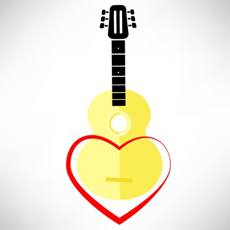 frets: Classic Guitar and Red Heart Isolated on White Background