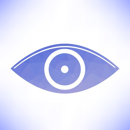 ojo azul: Blue Eye Icon Isolated on White Background Vectores