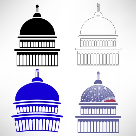 capitol hill: Set of Capitol Icons Isolated on White Background