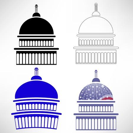 Set of Capitol Icons Isolated on White Background
