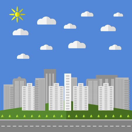 panoramic view: City Background. Architectural Building in Panoramic View.  Urban Landscape and City Life. Flat Design. Illustration