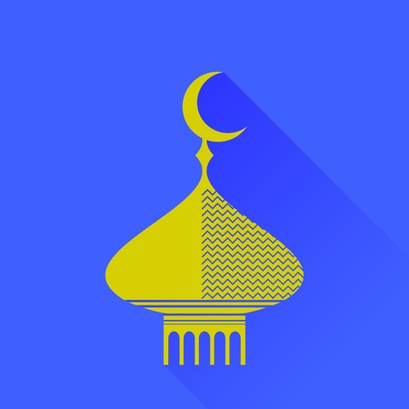cupola: Dome Icon Isolated on Blue Background. Long Shadow Illustration