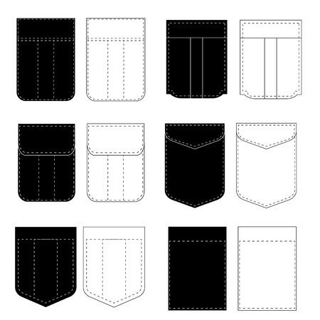 Set of Pocket Icons Isolated on White Background Illustration