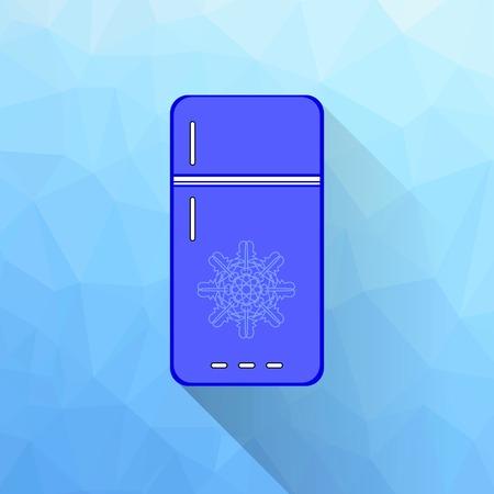 frig: Blue Refrigerator Icon Isolated on Polygonal Background. Long Shadow