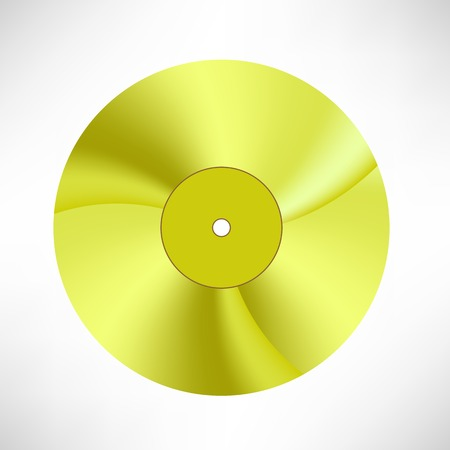disk jockey: Gold Disc Isolated on White Background. Musical Record. Yellow Vinyl Icon Illustration