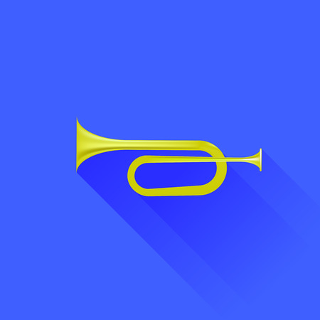 fanfare: Metallic Horn Isolated on Blue Background. Long Shadow