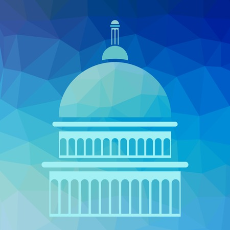 senate: Capitol Silhouette Isolated on Blue Polygonal Background Illustration