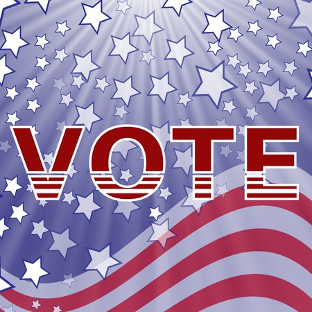 suffrage: American Vote Text on Blue Starry Background. Election Vote.