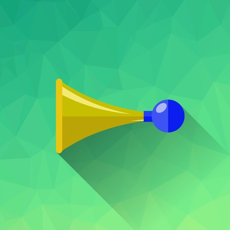 beep: Horn Symbol Isolated on Green Polygonal Background Illustration