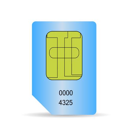 cdma: Blue SIM Card Isolated on White Background. Illustration