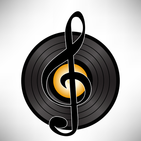 soundtrack: Record Vinyl Disc  with Clef Isolated on White Background. Musical Icon
