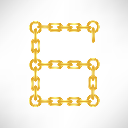 number 6: Gold Number 6 Isolated on White Background
