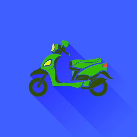 electrically: Green Scooter Silhouette Isolated on Blue Background. Long Shadow