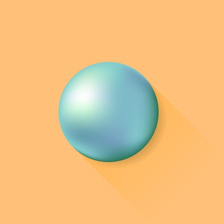 Metal Ball Isolated on Orange Background. Long Shadow