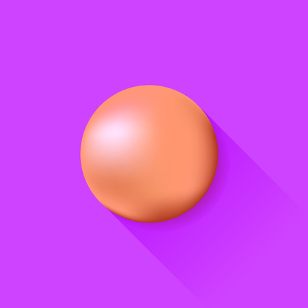 red ball: Red Ball Isolated on Purple Background. Long Shadow