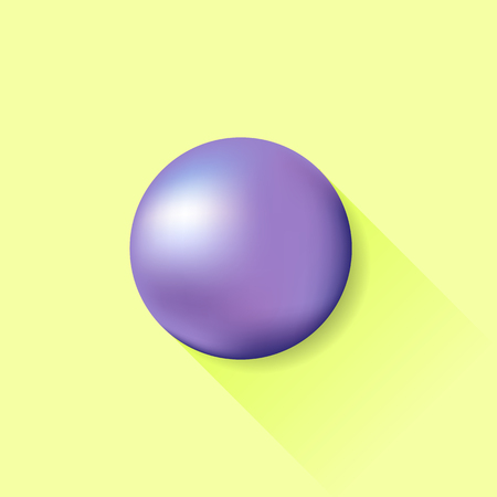 blue ball: Blue Ball Isolated on Yellow Background. Long Shadow