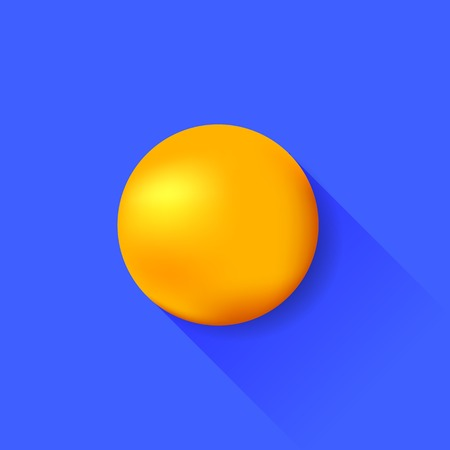 light shadow: Orange Ball Isolated on Blue Background. Long Shadow