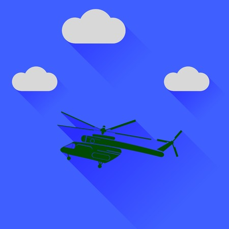 searcher: Green Helicopter Silhouette on Blue Sky Background. Long Shadow