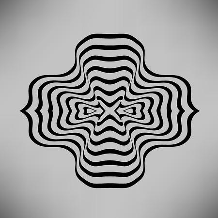 vibrations: Wave Symbol Isolated on Grey Background. Black Line Ornamental Element on Grey Background Illustration