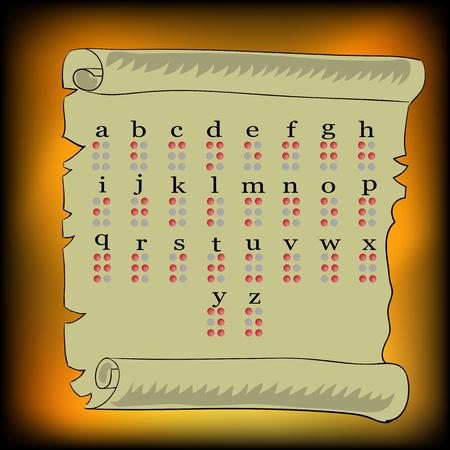 braille: Alfabeto de Braille Aislado en el fondo de papel viejo Foto de archivo