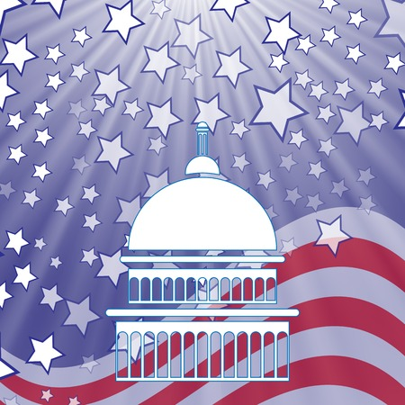 democrat party: Caritol White Silhouette on American Flag Background