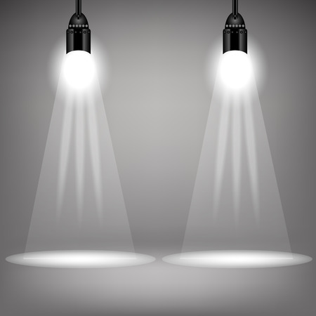 power projection: Two Spotlights on Soft Grey Background. Bright Stage with Spot Lights Stock Photo