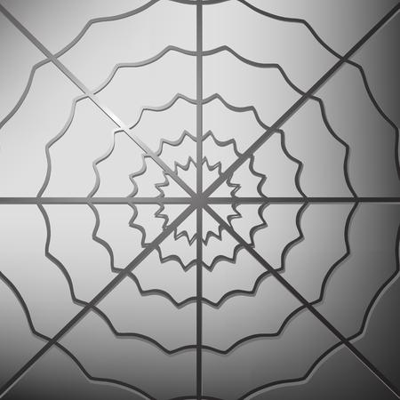 ochtend dauw: Spinneweb op grijze achtergrond. Cobweb Grey Icoon Stock Illustratie