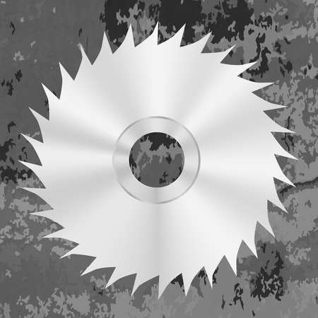 silver metal: Silver Metal Saw Isolated on Grey Grunge Background. Circular Saw Disc Icon Illustration