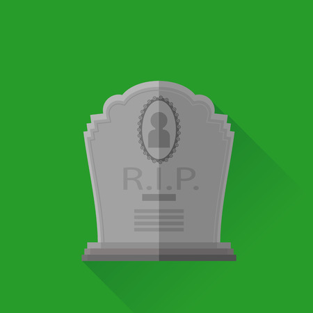 Grey Gravestone Isolated on Green Background. Flat Design. Long Shadow