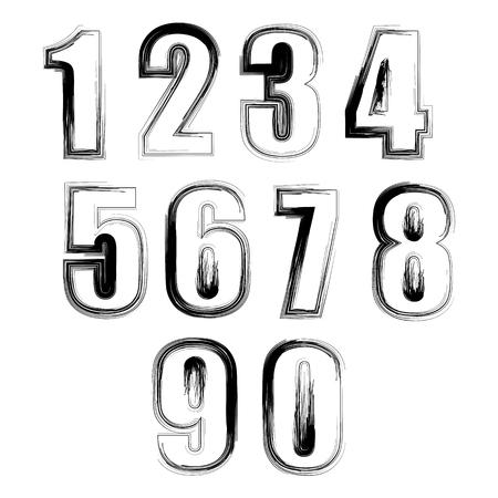 Set of Grunge Numbers Isolated on White Background Illustration
