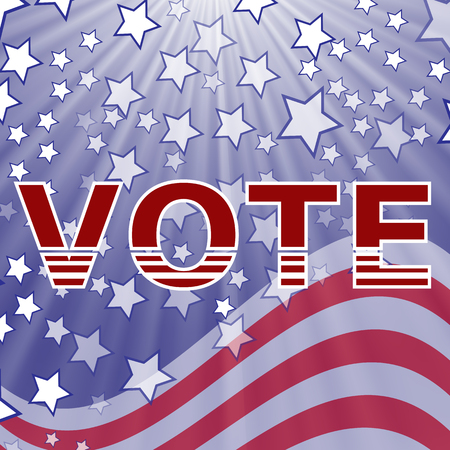 voting booth: American Vote Text on Blue Starry Background. Election Vote.