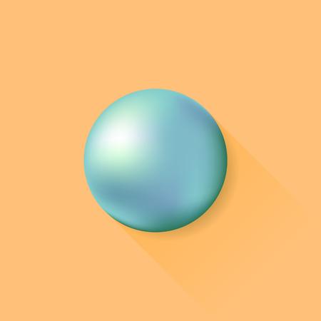 metal ball: Metal Ball Isolated on Orange Background. Long Shadow