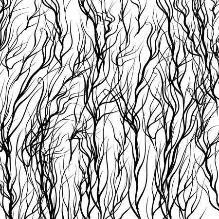landscaped garden: Black Trees on White  Background. Natural Pattern