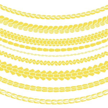 gold chain: Set of Variety Gold Chain Silhouettes Isolated on White Background