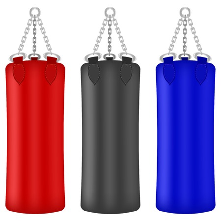 kickboxing: Set of Colorful Boxing Bags Isolated on White Background Illustration