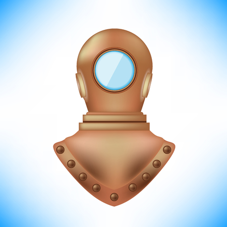 oceanography: Old Metal Diving Helmet Isolated on Blue Background Illustration