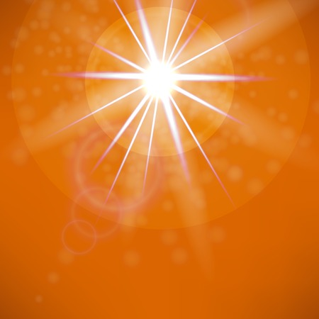 sun flare: Summer Sun on Orange Sky Background. Sun Flare. Illustration