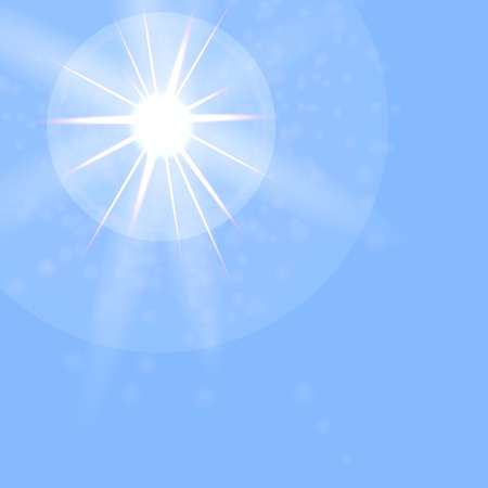 sun flare: Summer Sun on Blue Sky Background. Sun Flare. Vettoriali