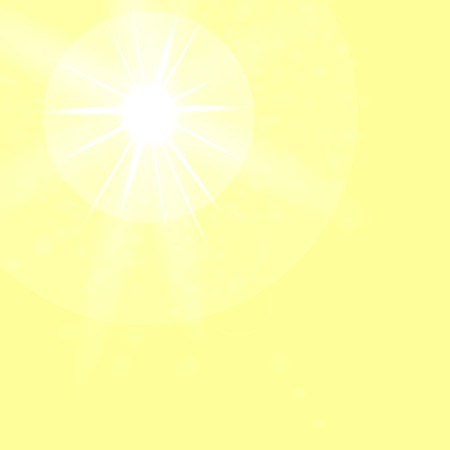 sun flare: Summer Sun on Yellow Sky Background. Sun Flare. Vettoriali