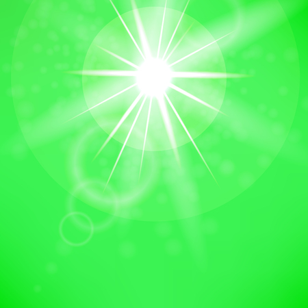 sun flare: Summer Sun on Green Sky Background. Sun Flare.