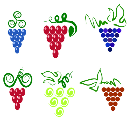 viticulture: Grapes Isolated. Grapes Icon. Grapes Logo Design. Nature Grapes Logotype. Vine Logo Icon. Fruits and Vegetables Icons. Grapes Icons. Grapes vine. Grapes with Green Leaf Isolated. Silhouettes of Grapes.