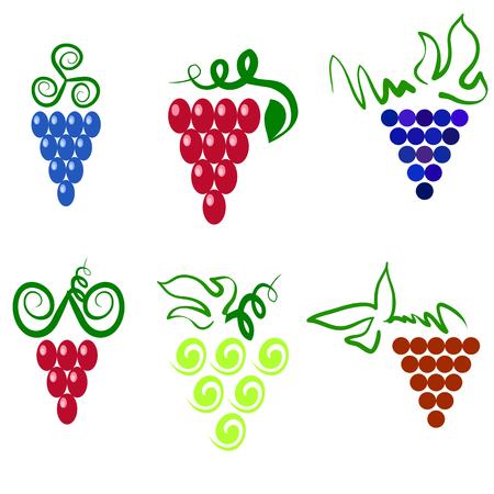 uvas: Uvas aisladas. Uvas Icono. Uvas Logo Design. Naturaleza Uvas de logo. Logotipo del icono de la vid. Frutas y Verduras Iconos. Uvas Iconos. Uvas de la vid. Uvas con hoja verde aislado. Siluetas de Uvas.