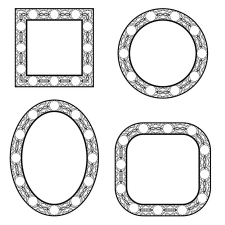 marcos decorativos: Set of Circle Decorative Frames Isolated on White Background. Foto de archivo
