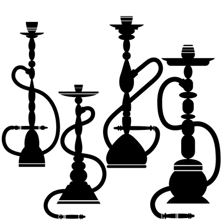 copper pipe: Set of Hookahs Silhouettes Isolated on White Background