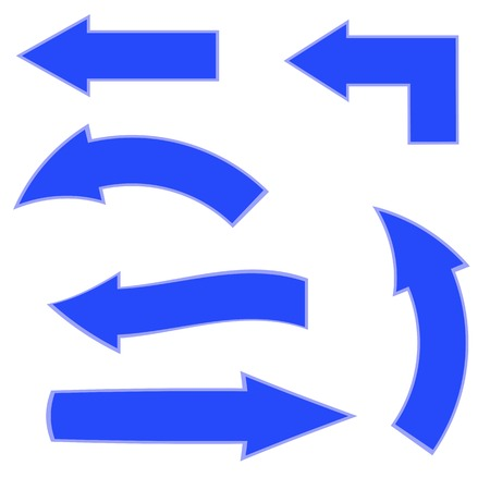 Set of Blue Arrows on White Background