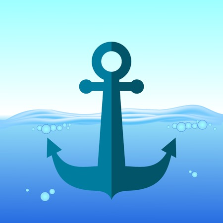 sea water: Sea Metal Anchor Silhouette Isolated on Blue Water Background